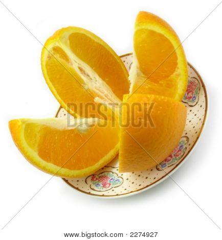 Orange On Saucer 2 Isolated On White