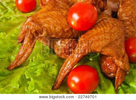 Delicious Bloated Chicken Leg With Cerry