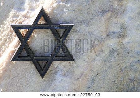 David's Star, Metal, White Stone. Jewish Cemetery, Germany.