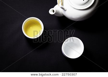 Tea pot and 2 cups