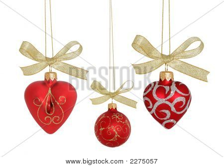 Christmas Ball / Red Hearts And Ball  (Isolated  With Clipping Paths) Xxl