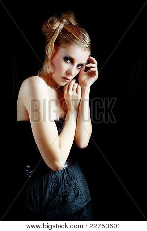 Fashion Model Wearing Black Dress