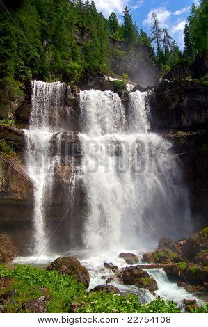 beautiful waterfall Vallesinella in the National Park Adamello-Brenta - Italy Dolomites