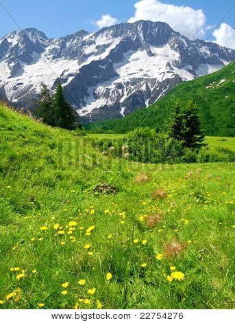 view of the mountains of Passo Tonale-Italy