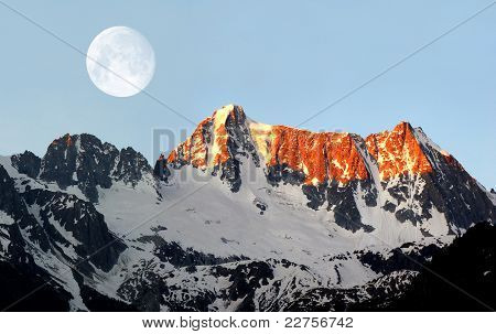sunrise over Presanella in the National Park Adamello-Brenta-Italian Alps