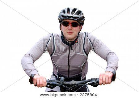 mountain biker isolated