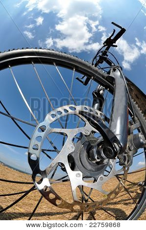 detail disc brakes on mountain bike