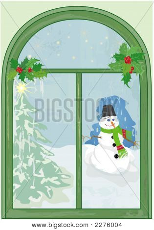 Christmas Window With Snowman