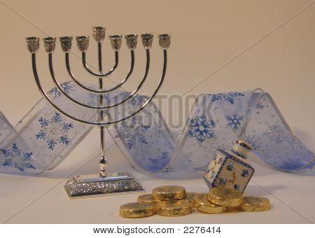 Menorah With Gelt, Dreidel And Ribbon