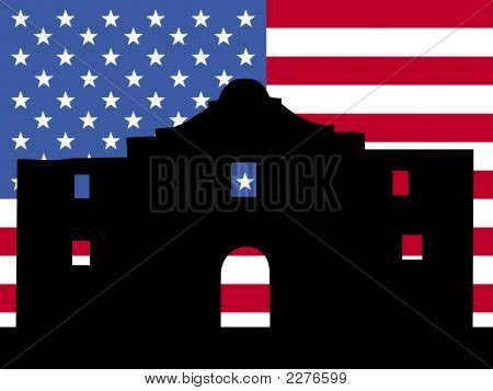 The Alamo With American Flag