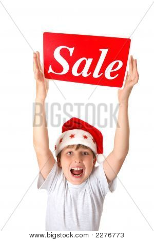 Excited Boy With Sale Sign