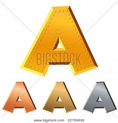 Vector Shiny Metal Letter A