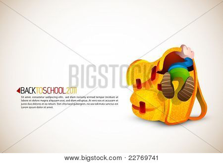 Cute Boy Looking for Something in his Huge School Backpack   Back To School Series   Detailed vector illustration with space for text   All layers named accordingly