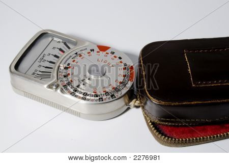 Vintage Light Meter With Leather Case