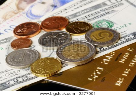 Notes, Coins And Credit Card