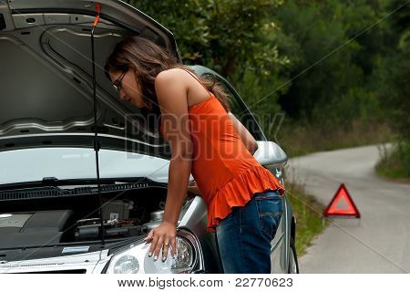 Broken Car - Young Woman Waits For Assistance