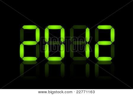 Vector New Year card 2012 - green lcd numbers
