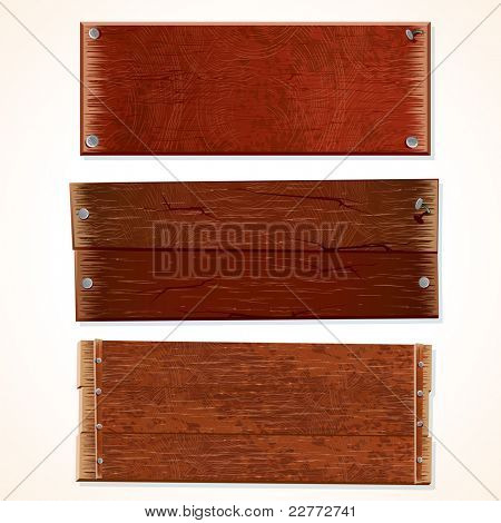 Collection of Wooden Signs and Boards, isolated on white background.