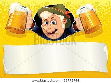 Cartel de Oktoberfest con sonrientes Brewer, listo para el texto o el diseño de la plantilla de vector.