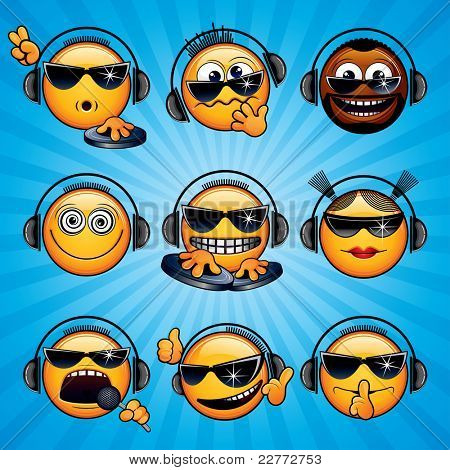 Cartoon DJ Icons and Smileys. Variety vector Deejay Signals, Emotions and Gestures