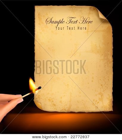 Background with old paper and hand holding a burning match. Vector illustration