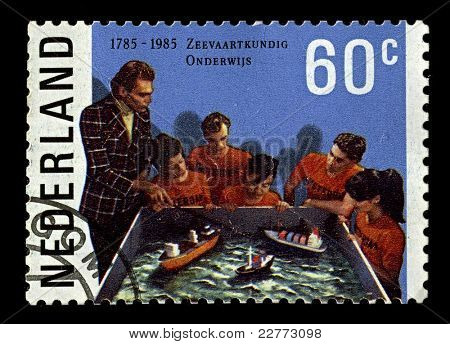NEDERLAND-CIRCA 1985:A stamp printed in Nederland shows image of lesson on models, circa 1985.