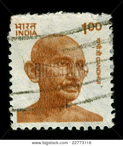 INDIA-CIRCA 1991: A stamp printed in India shows image of Mohandas Karamchand Gandhi was the pre-eminent political and ideological leader of India during the Indian independence movement, circa 1991.