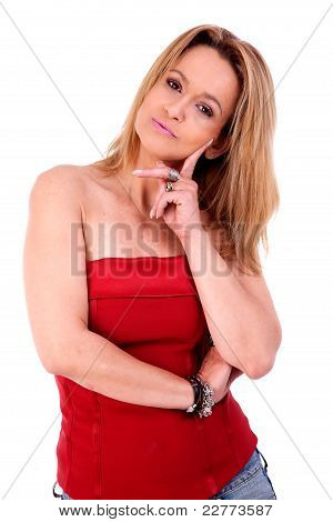 Beautiful Middle-age Woman, Isolated On White, Studio Shot