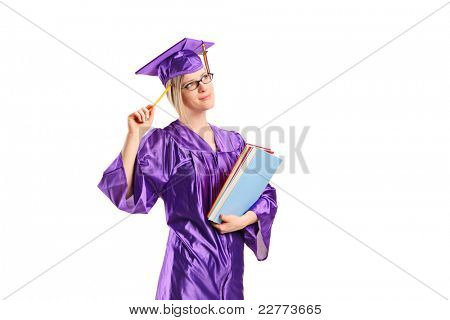 A graduate student in thoughts holding books isolated on white background