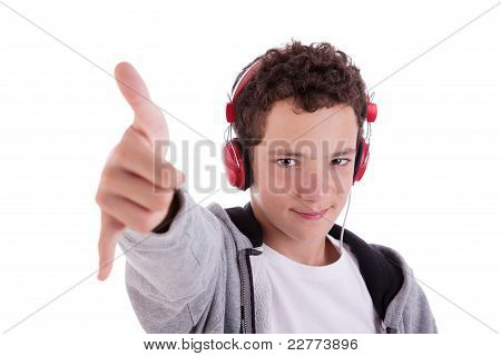 Happy Young Man With Red Headphones, And Thumb Up, Isolated On White Background, Studio Session