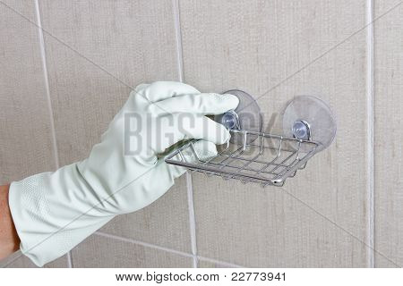 Hand fix soap holder.