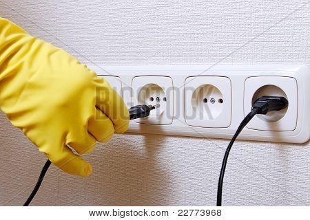 Hand and wall socket.