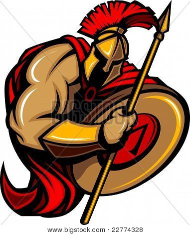 Spartan Trojan Mascot Cartoon with Spear and Shield