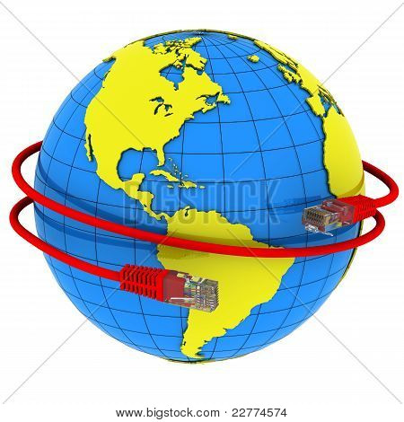 Red Internet cable wraps around the planet Earth