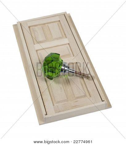Wooden Door And Large Green Doorknob