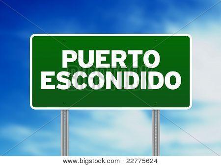 Green Road Sign - Puerto Escondido, Oaxaca