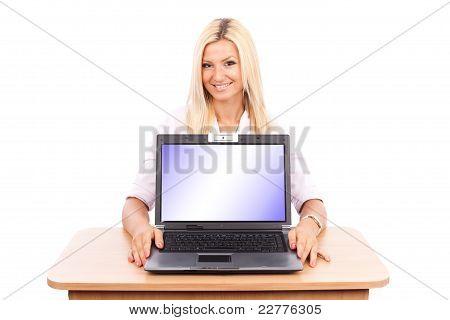 Teacher Lady Showing Laptop Screen