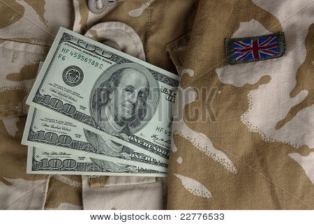 Dollars in a british desert uniform
