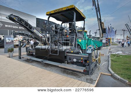 Moscow, Russia - June 02:  Grey Asphalt Spreader On Display At Moscow International Exhibition Const