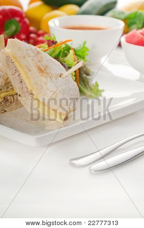 Tuna And Cheese Sandwich With Salad