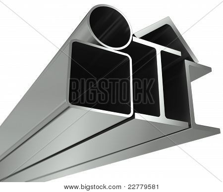 Metal pipe girders angles channels and square tube on a white background