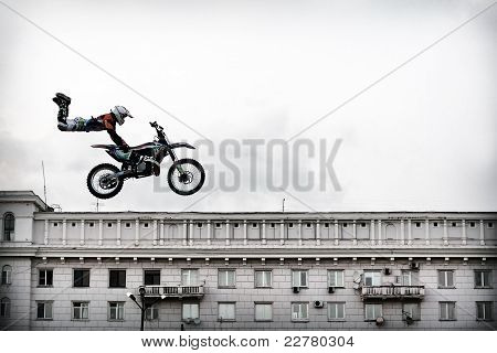 Fmx Rider Performing A Stunt