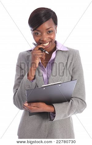 Cute Smile Beautiful Young Black Business Woman