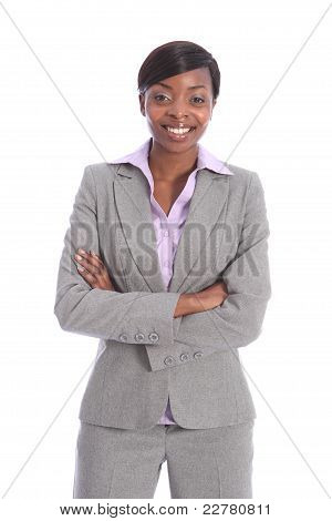 Happy Beautiful African American  Business Woman