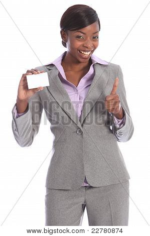 Happy African American Woman With Business Card