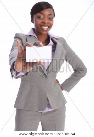 Happy African American Woman Holding Business Card