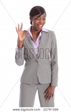 Okay Success Sign By Happy Black Business Woman