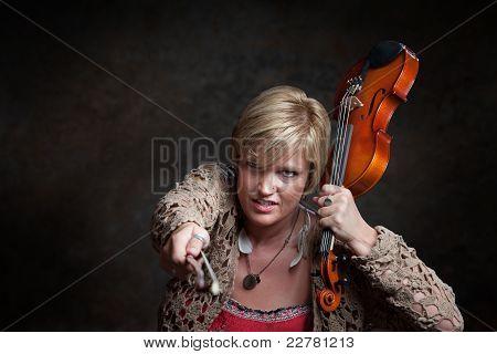 Woman Grabs A Violin