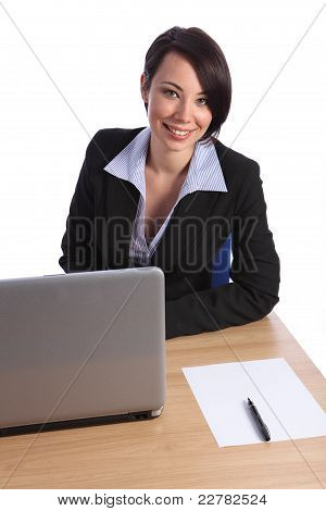 Happy Confident Young Business Woman In Office