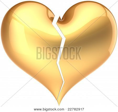 Golden heart shape divorce fateful Love icon